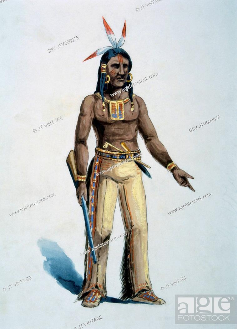 Stock Photo: Native American, Watercolor Painting by William L. Wells fo the Columbian Exposition Pageant, 1892.