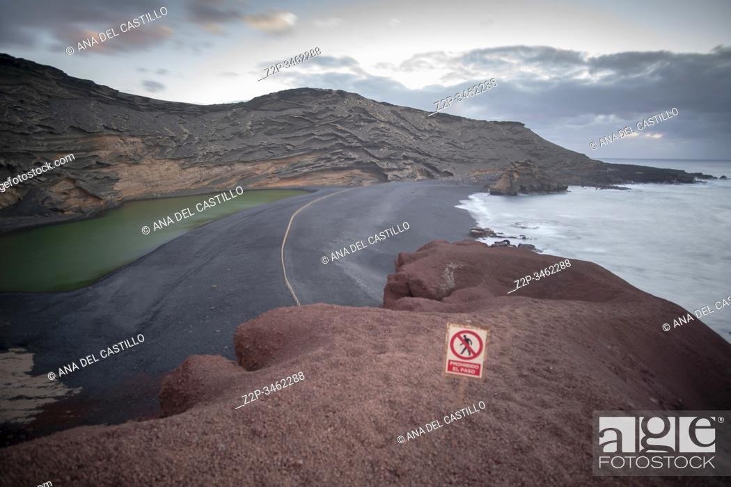 Stock Photo: Charco de los clicos volcanic crater beach The green lagoon in El Golfo Lanzarote Canary islands Spain.