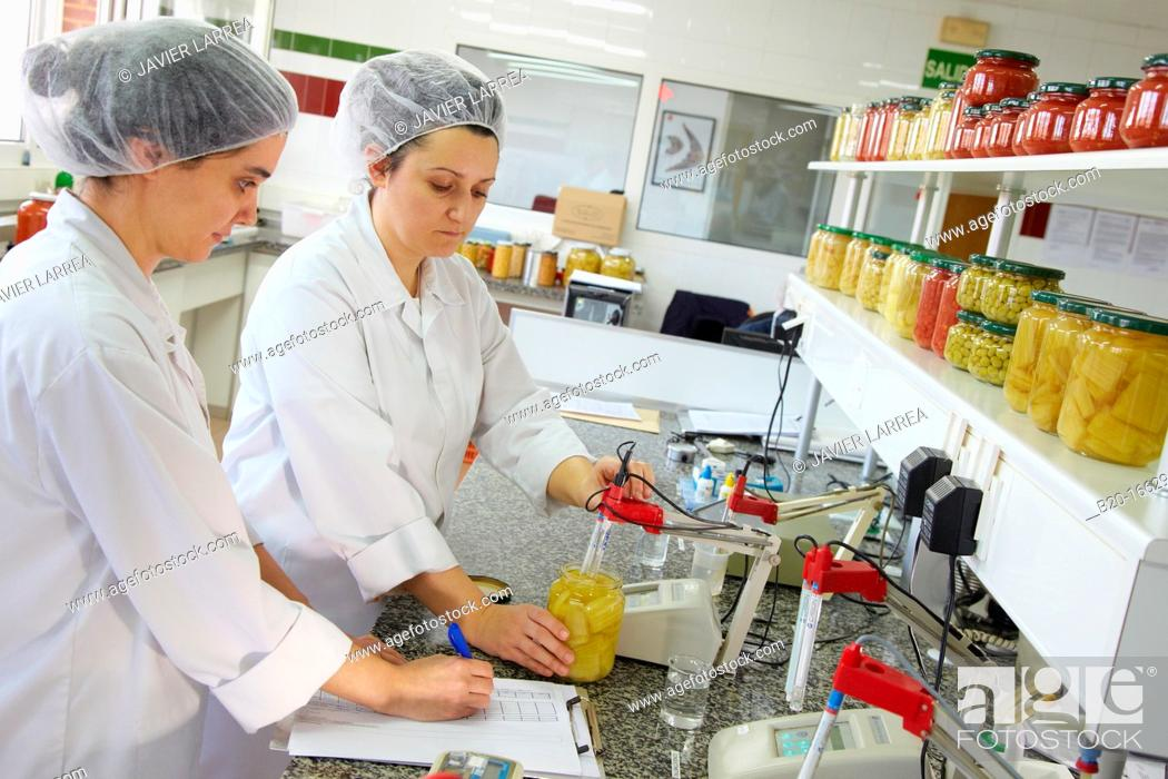 Stock Photo: pH meter, Laboratory, Production of canned vegetables and beans, Canning Industry, Agri-food, Gutarra, Grupo Riberebro, Villafranca, Navarra, Spain.