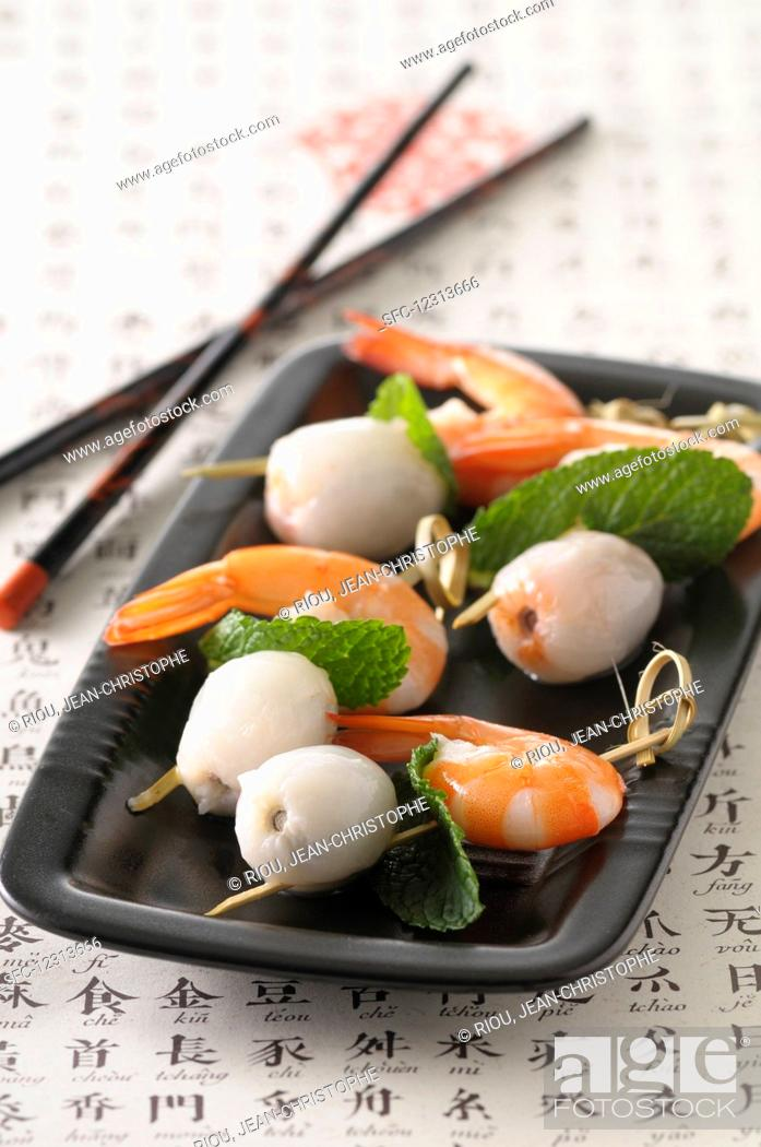 Stock Photo: Prawns with lychees (Asia).
