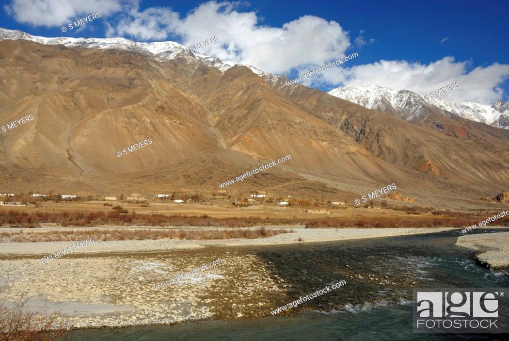 Stock Photo: village in the Pamir Mountains, Tajikistan, Pamir Mountains, Pamir Plateau.