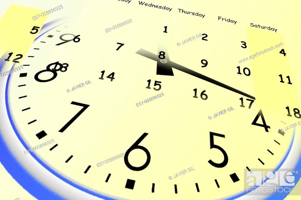 Stock Photo: Clock and yellow calendar.