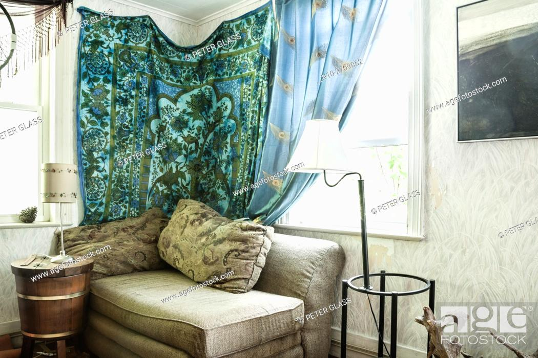 Stock Photo: Living room in old house.
