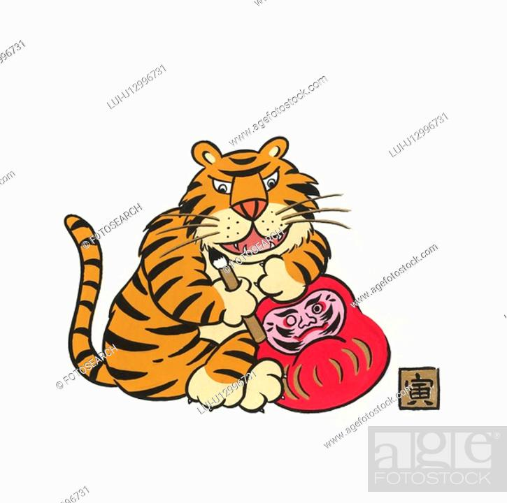 Stock Photo: Tiger Painting Dhama Doll.