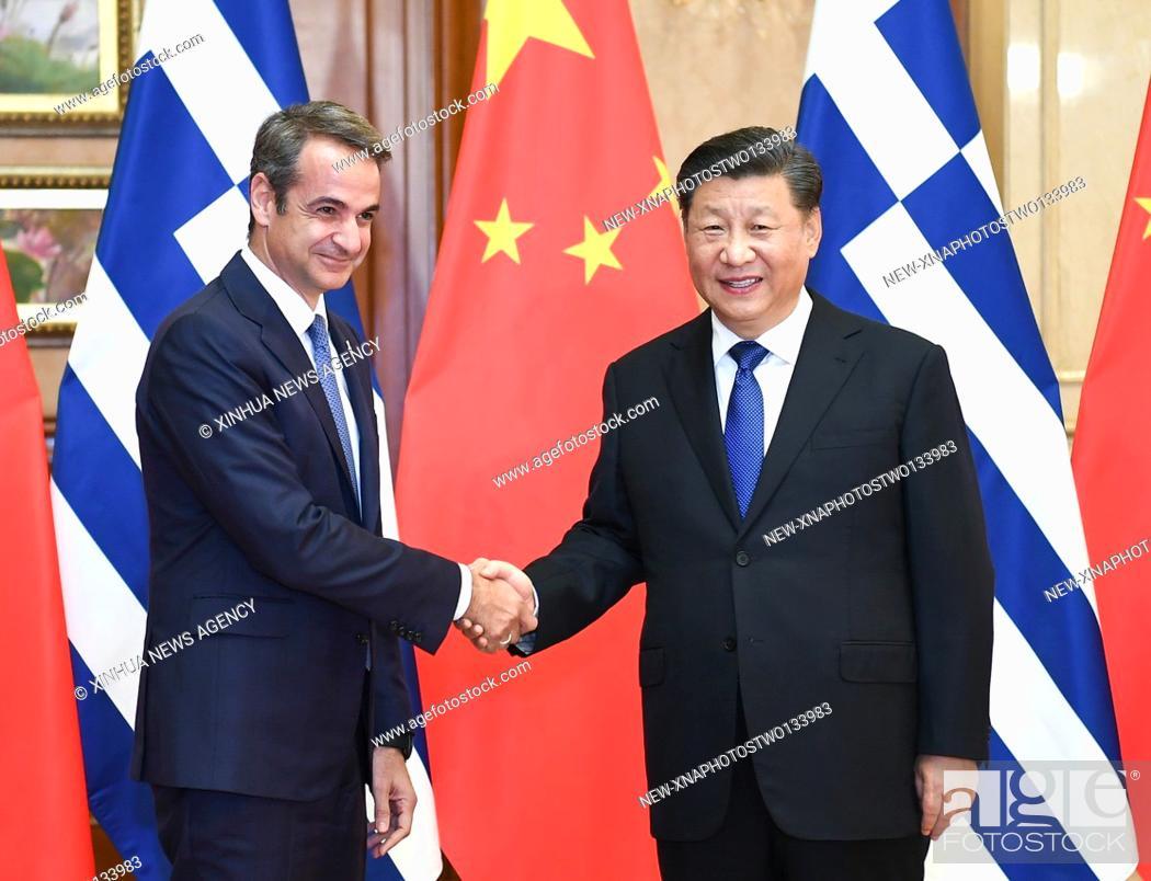 Stock Photo: (191104) -- SHANGHAI, Nov. 4, 2019 (Xinhua) -- Chinese President Xi Jinping meets with Greek Prime Minister Kyriakos Mitsotakis.