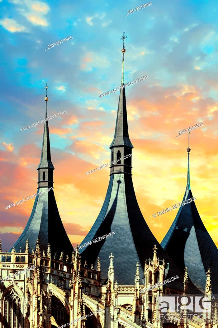 Stock Photo: Cathedral of St Barbara in sunset, Gothic Church, UNESCO, World Heritage Site, Kutna Hora, Bohemia, Czech Republic, Europe.