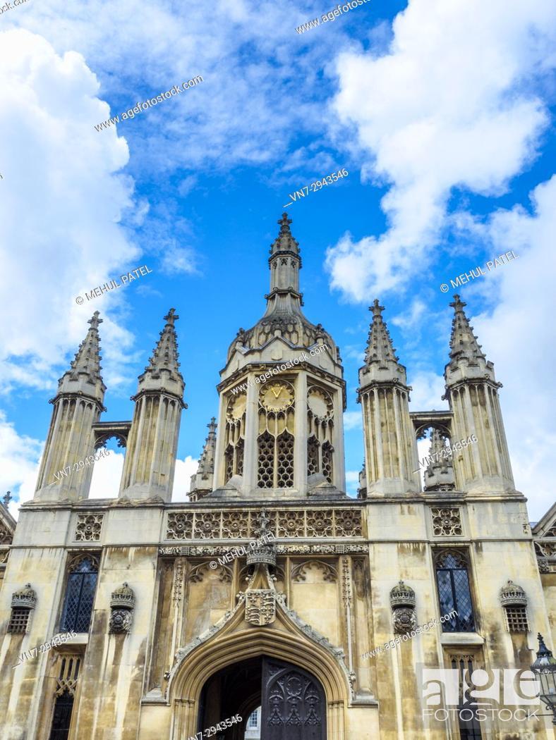 Stock Photo: King's College Cambridge gatehouse, Cambridge, England, UK.