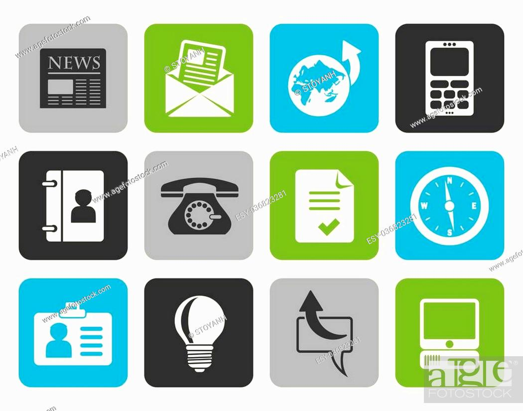 Stock Vector: Flat Business and office icons - vector icon set.