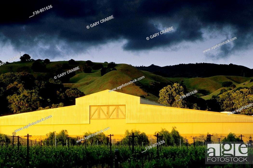 Stock Photo: Sunset light on winery, Fetzer Vineyards, East Side Road, near Hopland, Mendocino County, California.