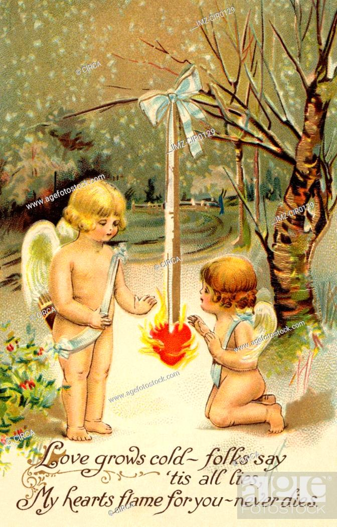 Stock Photo: A vintage Valentine card with two cherubs warming up next to a heart on fire.