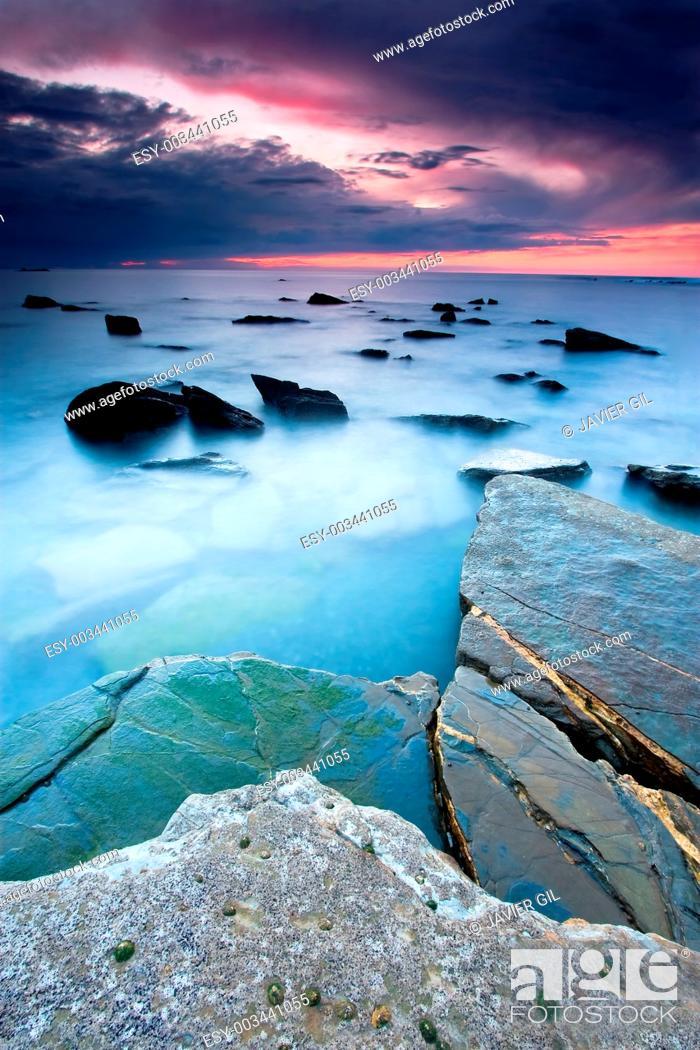 Stock Photo: Beach of Barrika, Bizkaia, Basque Country, Spain.