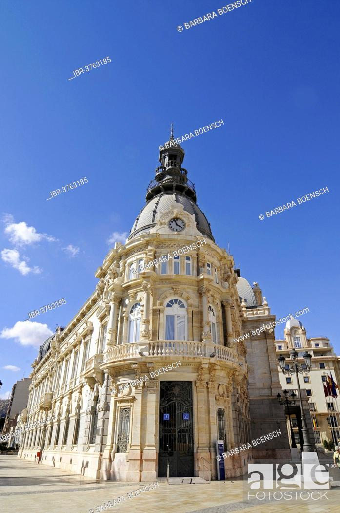 Stock Photo: Town Hall, Town Hall Square, Cartagena, Murcia Region, Spain.