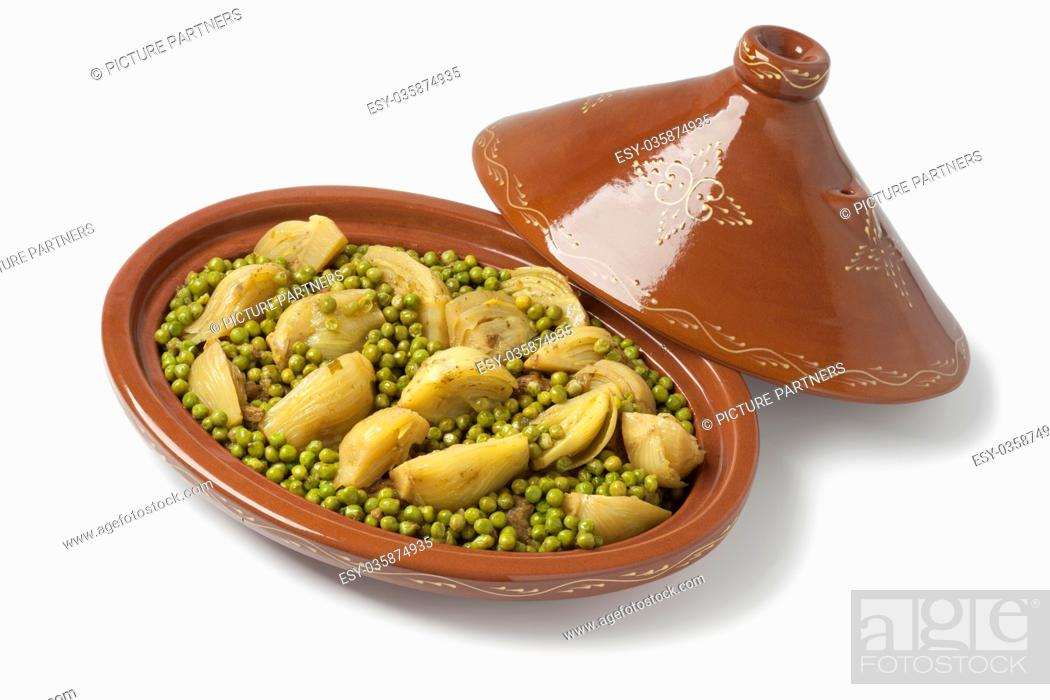 Photo de stock: Traditional Moroccan oval tagine with meat, peas and fennel on white background.