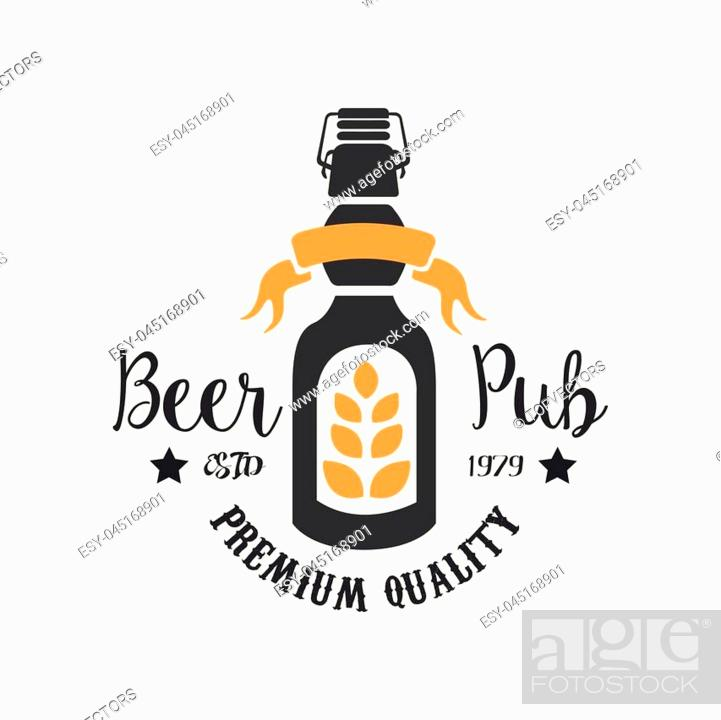 Stock Vector: Original logo template for pub. Colorful emblem with bottle of beer, wheat branch and ribbon. Alcoholic beverage. Premium quality.