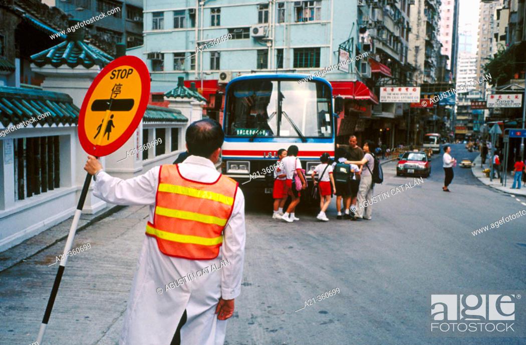 Stock Photo: School crossing. Hong Kong, China.