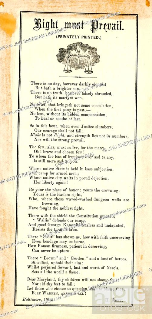 """Imagen: Broadside from the American Civil War, entitled """"""""Rights Must Prevail, """""""" celebrating the resistance of Maryland to Union invasion and the Confederate."""