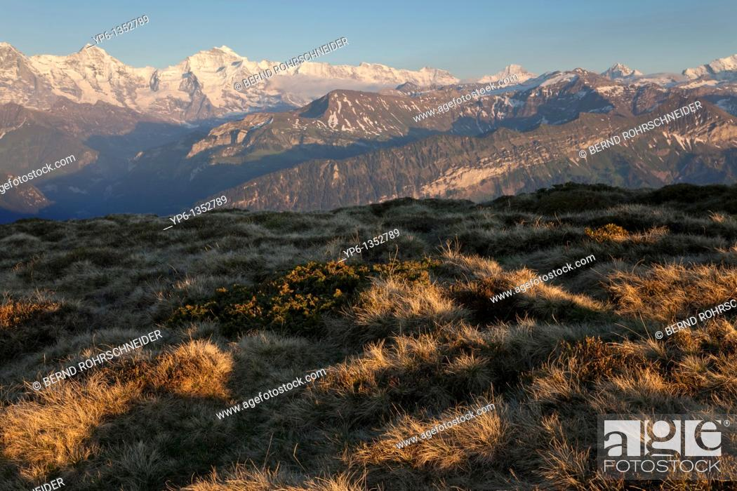 Stock Photo: alpine landscape with Eiger, Mönch and Jungfrau, Bernese Oberland, Switzerland.