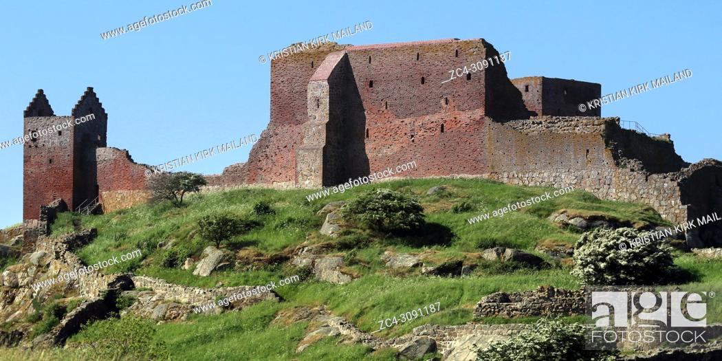 Stock Photo: Panoramic view of Hammerhus, one of the largest contiguous castle ruins complexes in Northern Europe.