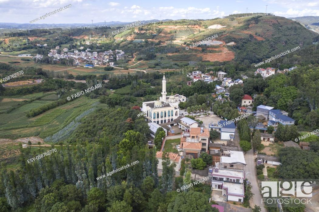 Stock Photo: Aerial view of a Hui mosque in Yunnan, China.