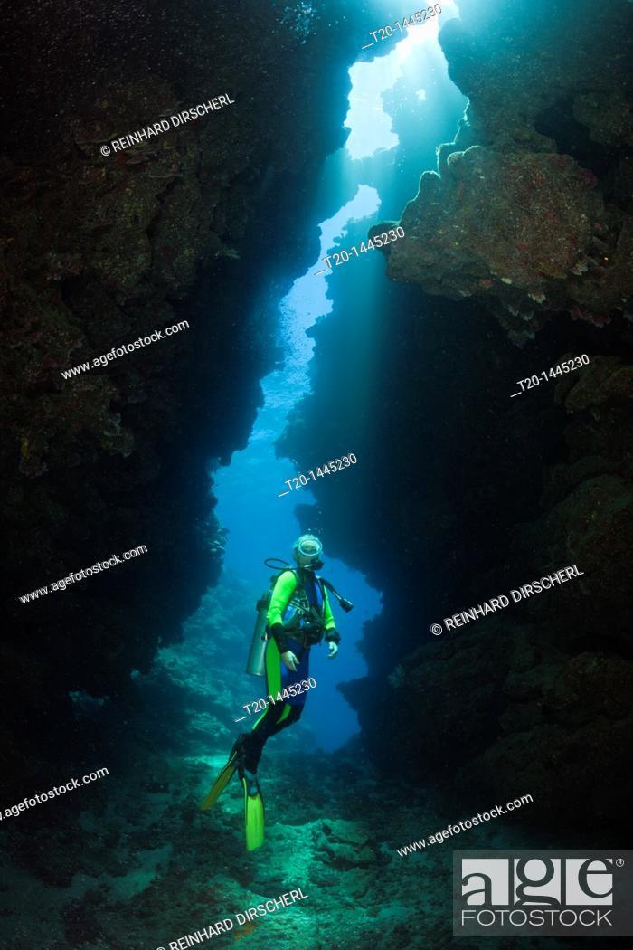 Stock Photo: Scuba Diver in Underwater Cave, Namena Marine Reserve, Fiji.