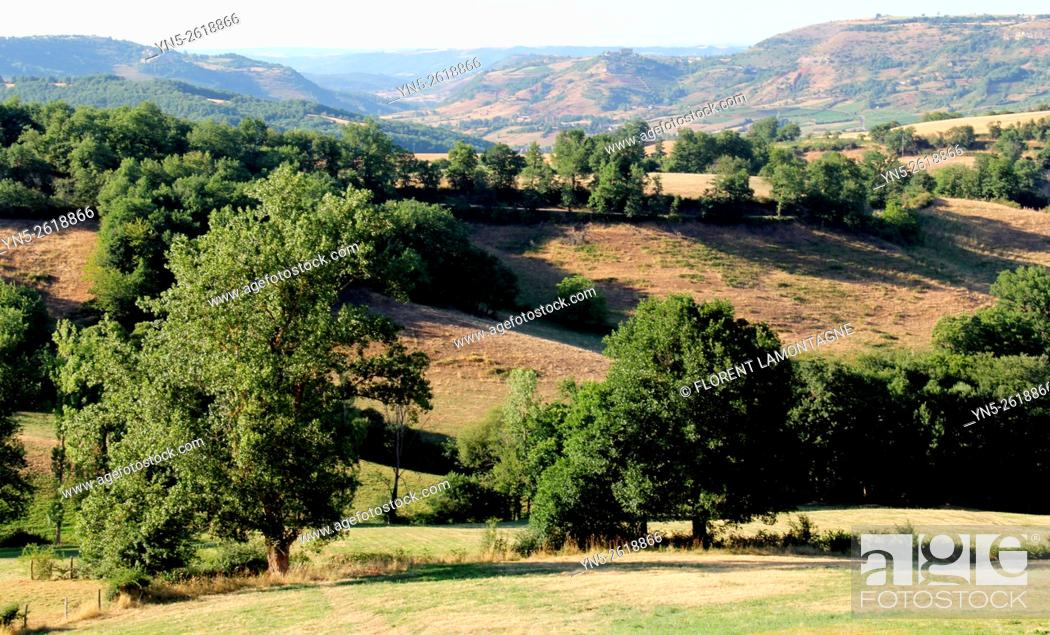 Stock Photo: Aveyron, Midi-Pyrenees, paysages et relief typique. Typical lanscapes with hills.