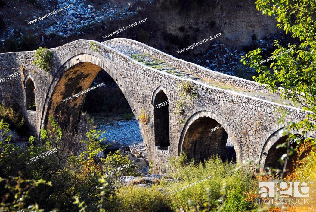 Stock Photo: Ancient bridge of Mesi, Northern Albania.