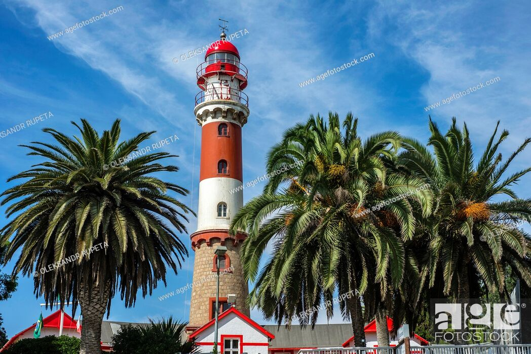 Stock Photo: The old lighthouse in Swakopmund, Namibia.