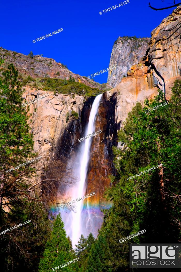 Stock Photo: Yosemite Bridalveil fall waterfall National Park California.