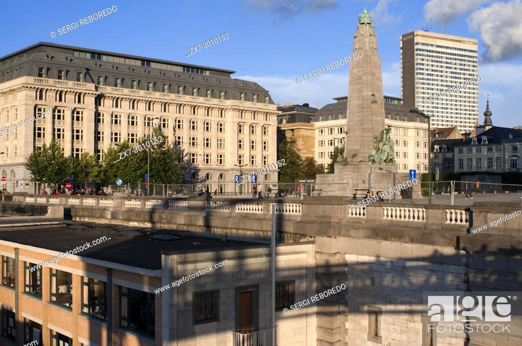 Stock Photo: Poelaert square, Marolles neighborhood, Brussels, Belgium. In the square Poelaert find a monument by sculptor Charles Sargeant Jagger erected in 1923.
