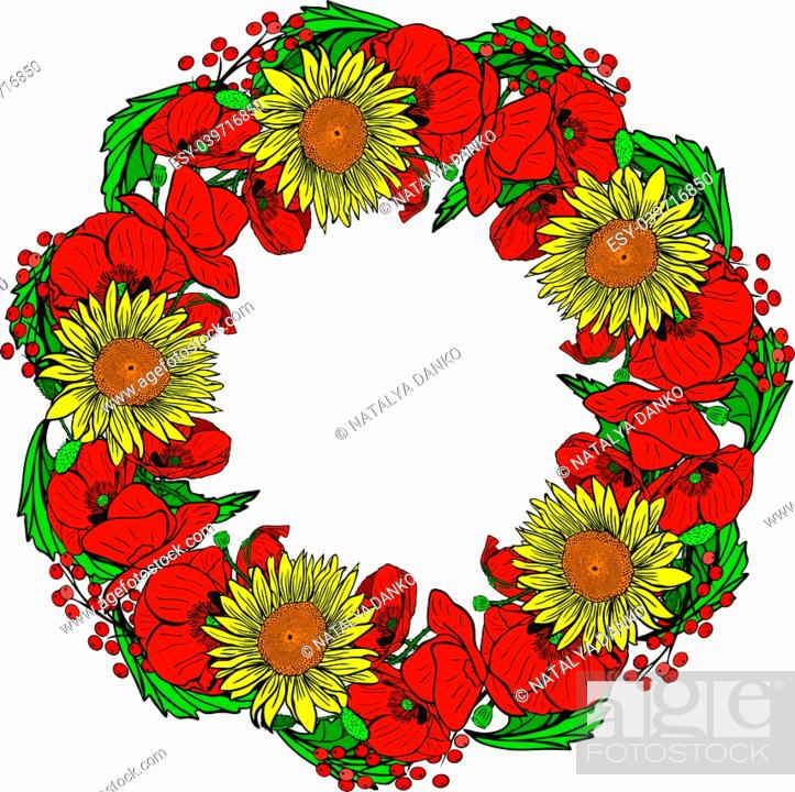 Stock Vector: wreath of red blossoming poppies, yellow sunflowers and green leaves isolated on white background.