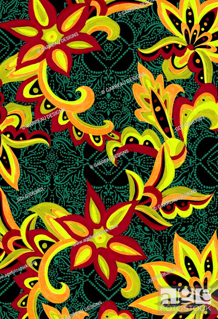 Imagen: Tropical flowers layered over dotted background.