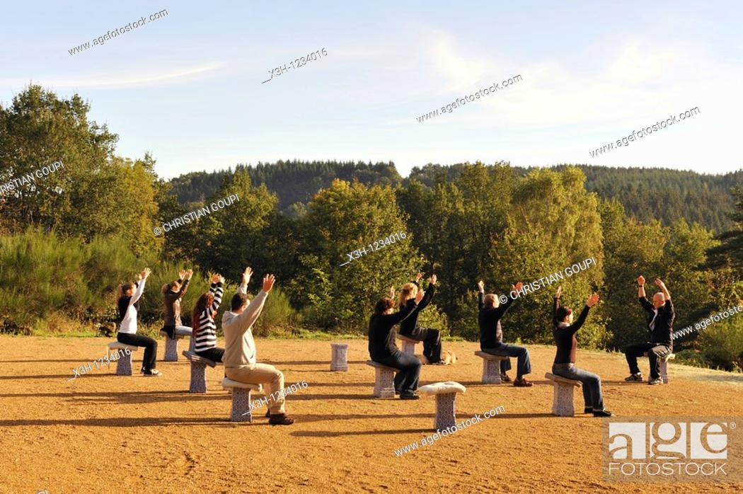 Stock Photo: Tai chi chuan class, Parc du Silence, a unique location for training and retreat, Livradois-Forez Regional Nature Park, Puy-de Dome department, Auvergne region.