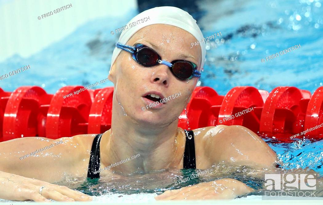Stock Photo: Britta Steffen of Germany reacts during a training session of the 15th FINA Swimming World Championships at Palau Sant Jordi Arena in Barcelona, Spain.