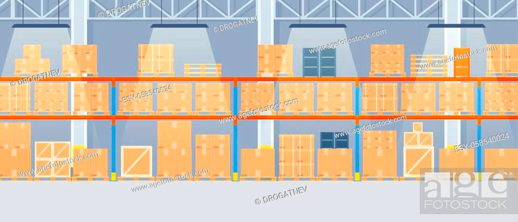 Stock Vector: Warehouse interior with cardboard boxes on metal racks. empty Warehouse interior with goods, pallet trucks and container package boxes.