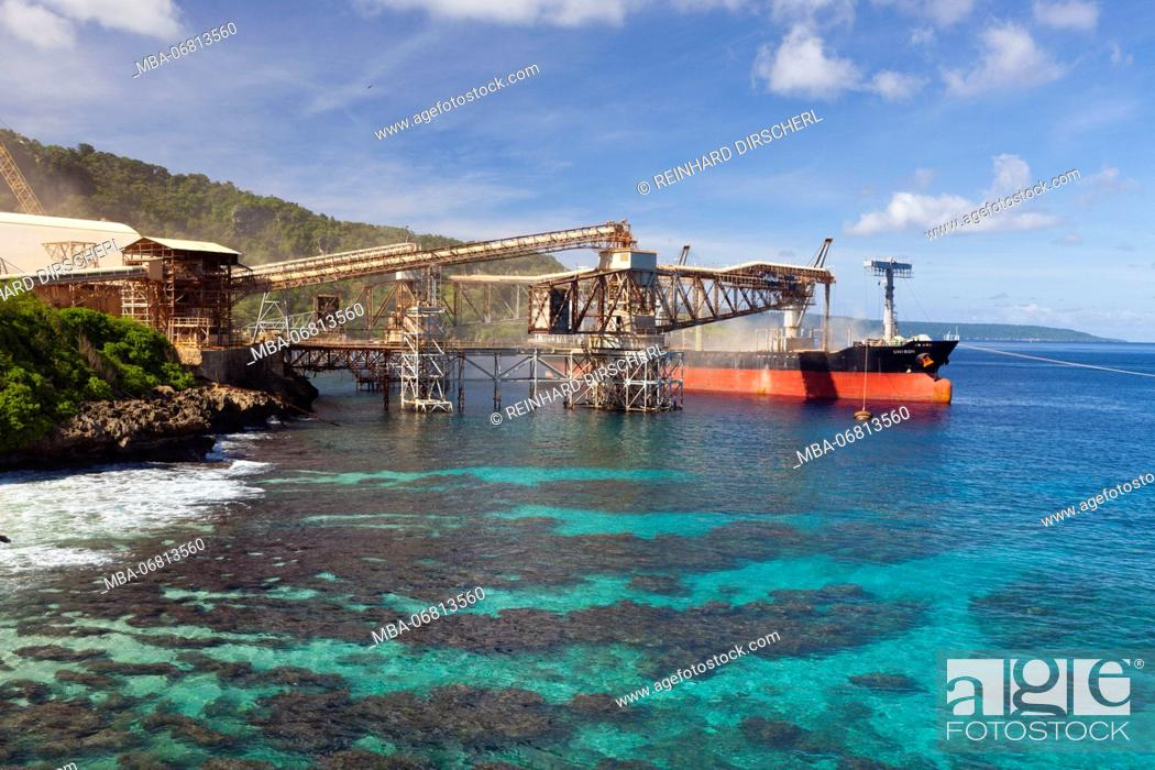 stock photo phosphat loading wharf flying fish cove christmas island australia