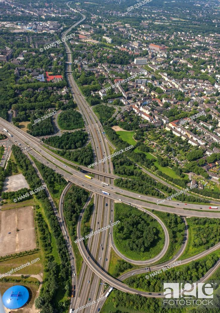 Stock Photo: Aerial view, urban motorway A59, Duisburg Nord junction of motorways A42 and A59, Ruhr Area, North Rhine-Westphalia, Germany, Europe.