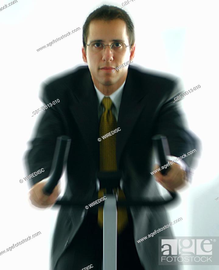 Stock Photo: Businesseman, man executive, treadmill exercise, Brazil.