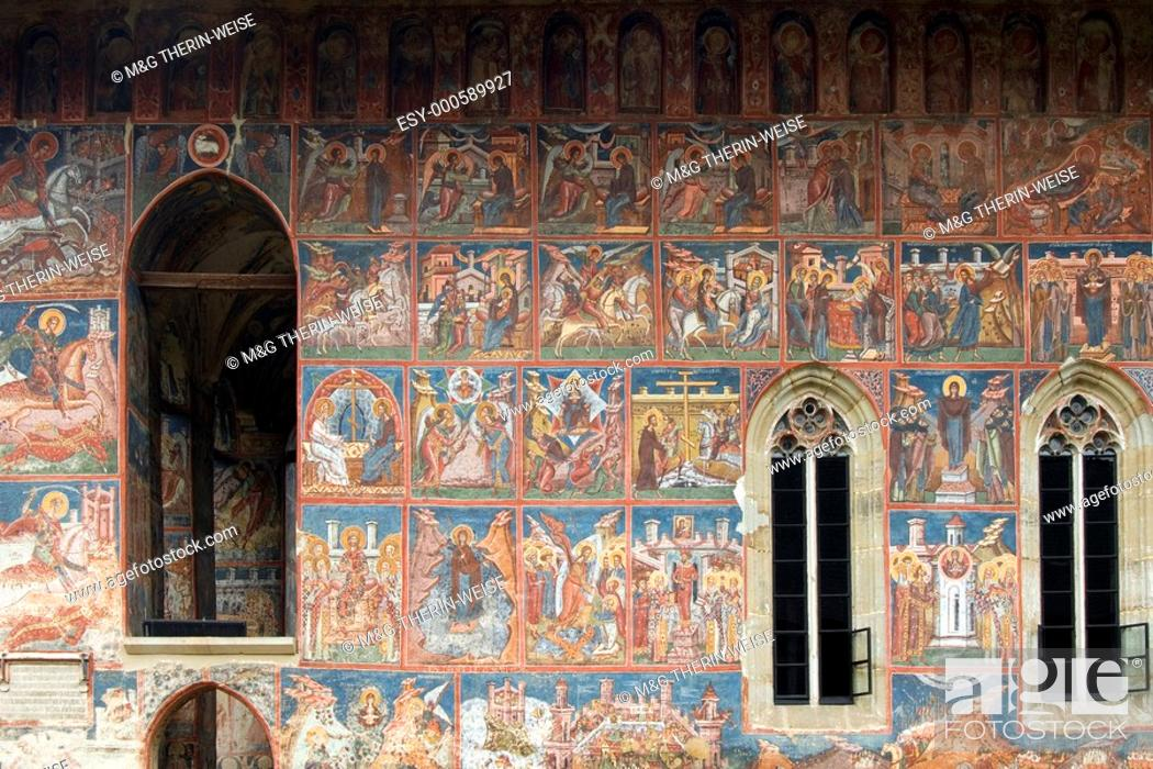 Stock Photo: Church of the Annunciation of the Moldovita Monastery, Exterior wall paintings representing biblical scenes and legends, South Bucovina, Moldavia, Romania.