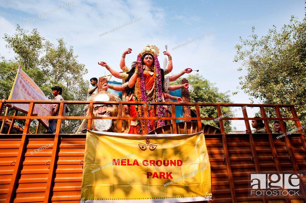 Stock Photo: Statue of goddess Durga at a religious procession, Delhi, India.