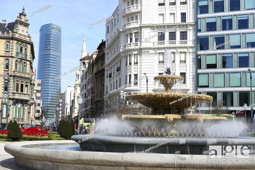 Stock Photo: Plaza de Federico Moyua, Bilbao, Biscay, Basque Country, Euskadi, Euskal Herria, Spain, Europe.
