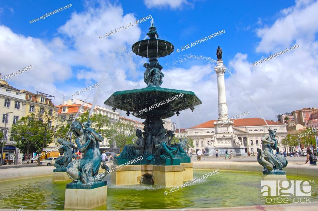 Stock Photo: Lisbon, Dom Pedro IV Square, Praça Dom Pedro IV, Baixa District, Portugal.