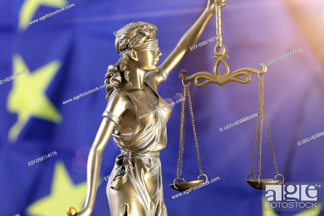 Stock Photo: Symbol image: Justitia in front of a Europe flag.