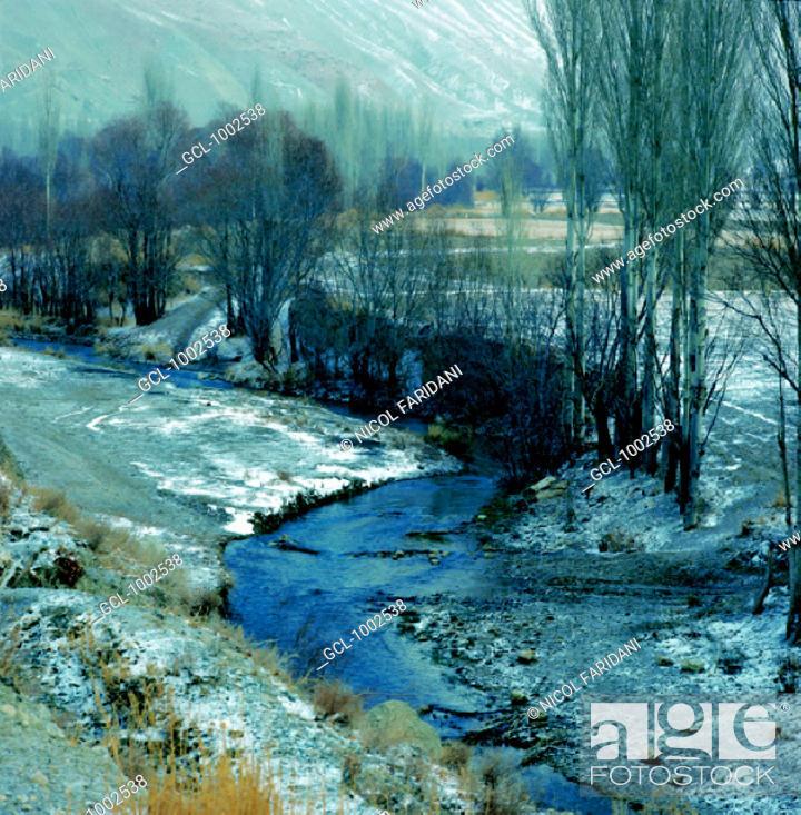 Stock Photo: River landscape in winter, Iran.
