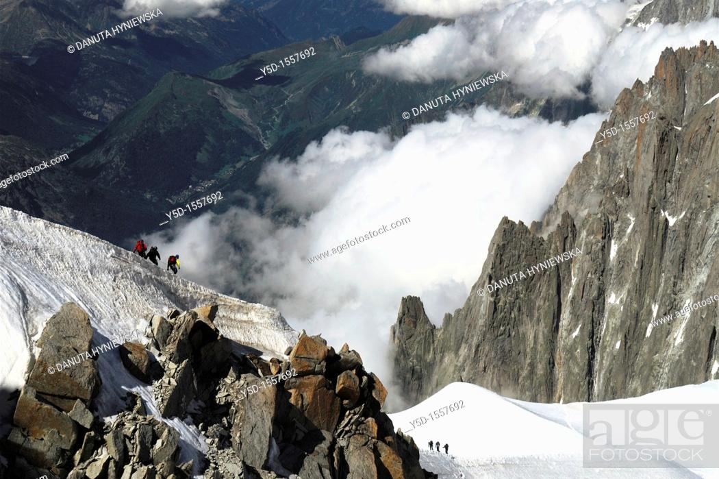 Stock Photo: High Alps close to Mt Blanc, view from Aquille du Midi, close to Chamonix,  France.