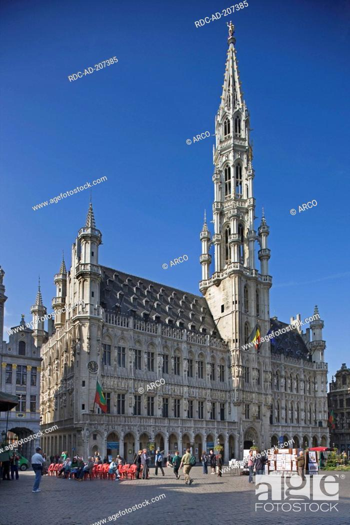 Stock Photo: Town hall, Grote Markt, city hall square, old town, Brussels, Belgium, Grand-Place, Het Stadhuis, Hotel de Ville.