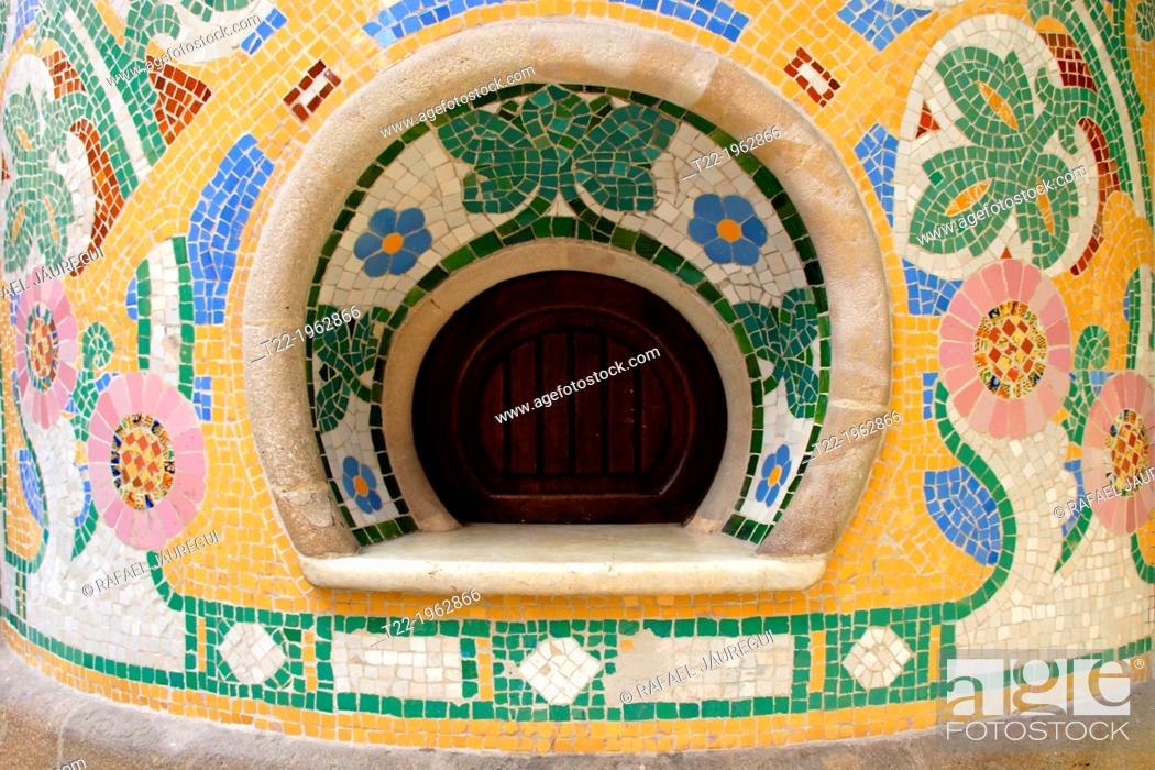 Stock Photo: Architectural detail of Palace of Catalan Music in Barcelona. Spain.