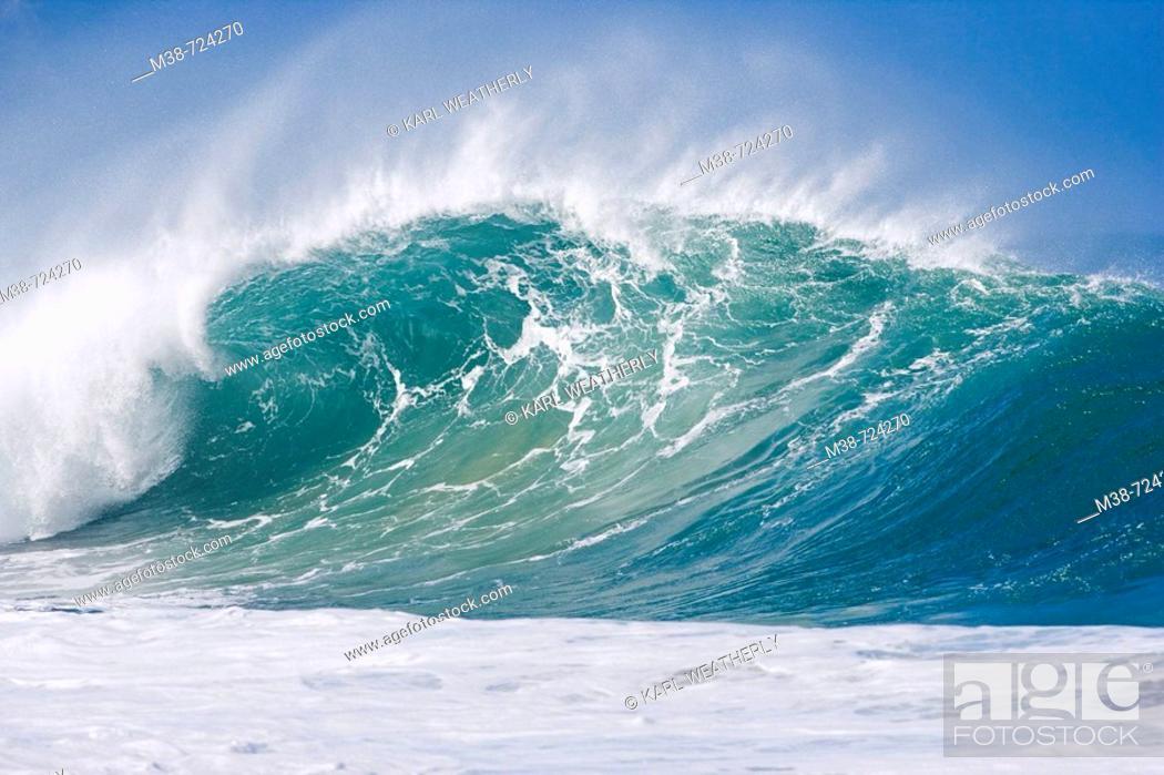 Stock Photo: Surf wave, Oahu, Hawaii, USA.