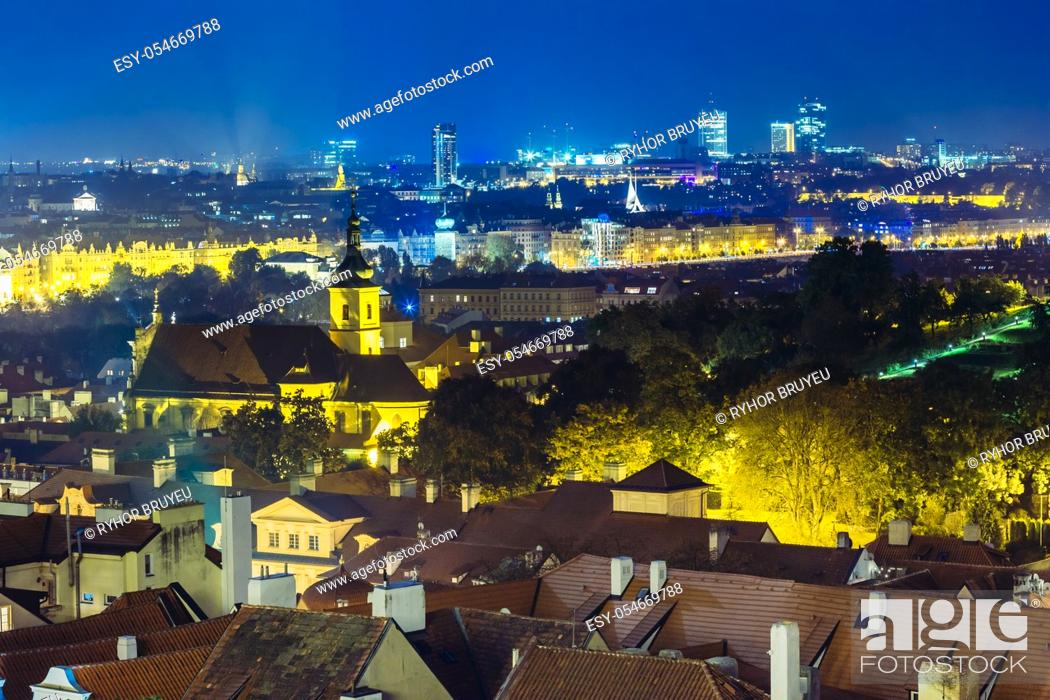 Stock Photo: Night aerial view of cityscape of Prague, Czech Republic.
