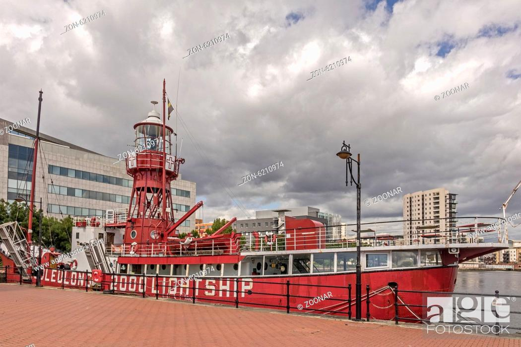 Stock Photo: The Lightship Helwick Moored In Cardiff Bay Glamor.