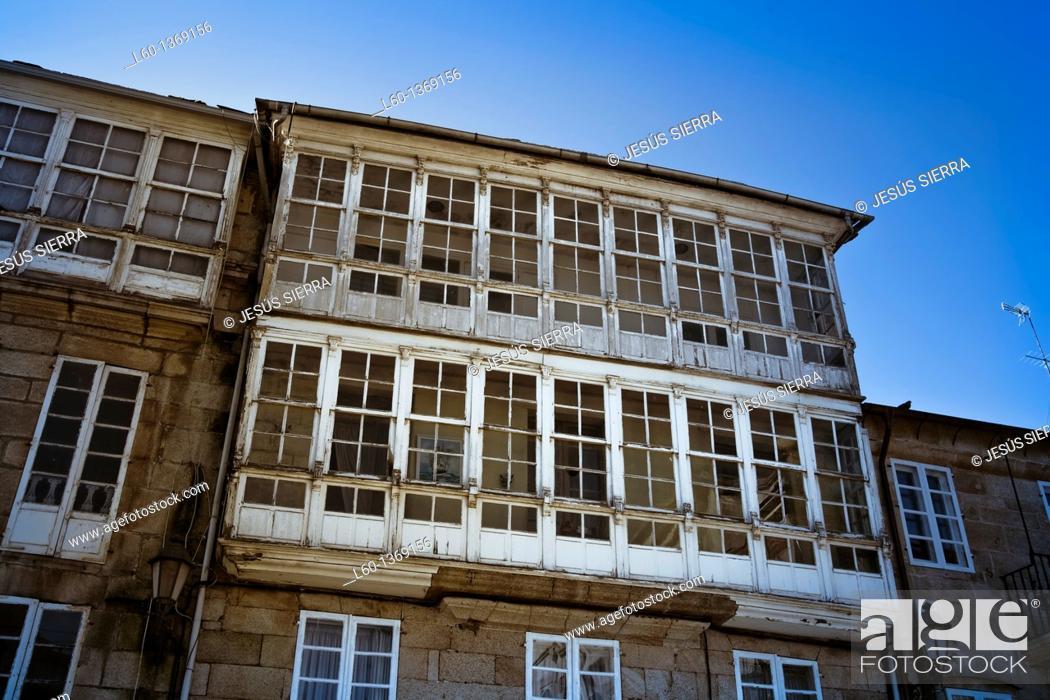Stock Photo: Facade in Lugo, Galicia, Spain.
